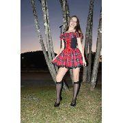 Vestido Xadrez Vermelho Caipira Colegial Fantasia