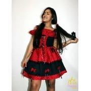 Vestido Festa caipira ladybug vermelho preto Traje Caipirinha Luxo