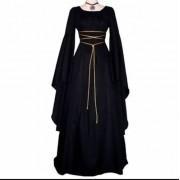 Vestido Preto Medieval Bruxa Clássico