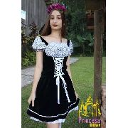 Vestido Frida Alemã Moderna Preta Veludo