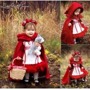 Fantasia de Luxo Chapeuzinho Vermelho Tule Avental Capuz