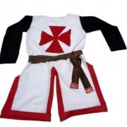Traje Medieval Masculino Templário vermelho e branco
