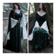 Vestido Elfa Medieval Luxuoso Verde