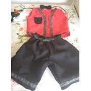 Vestido Italiano Tradicional Infantil Menino Vermelho e Branco