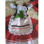 Vestido Italiano Tradicional Menina Vermelho e Branco