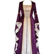 Vestido Medieval Longo Cor Esclusiva Limitada Bege E Roxo