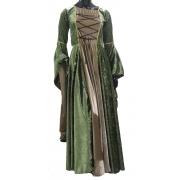 Vestido Rainha Elfa Medieval Verde Musgo Com Bege Dourado Luxuoso
