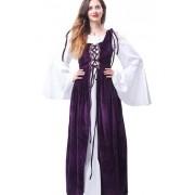 Vestidos Camponesa Irlandesa Luxo Sendo Branco E Roxo