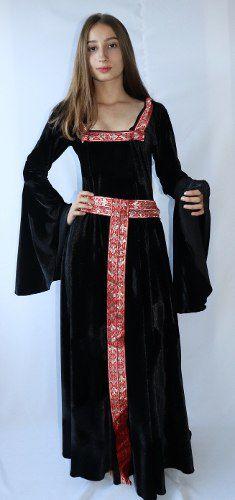 Vestido Medieval Preto Bruxa Com Capuz Fitas Vermelha
