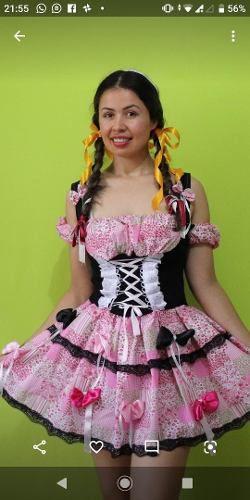 Vestido Festa Junina Julina Luxo Rosa