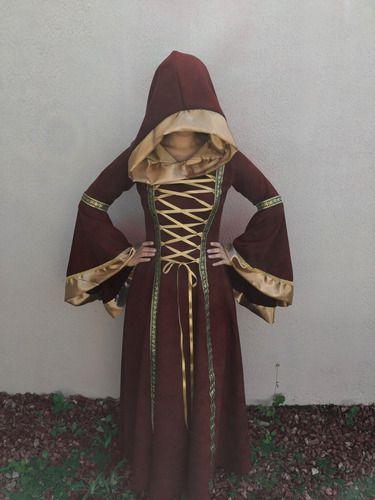 Vestido Medieval Rainha Suede Luxuoso Capuz longo
