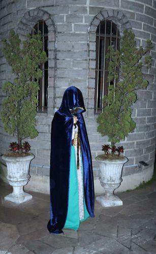 Capuz Medieval Veludo Azul