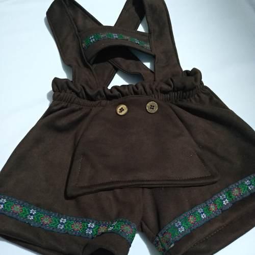 Shorts Fritz Infantil Suede Alemao Suspensorio Marron
