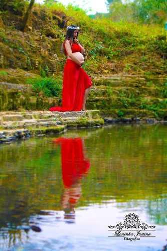 Top e saia longa veludo gravida Vermelho