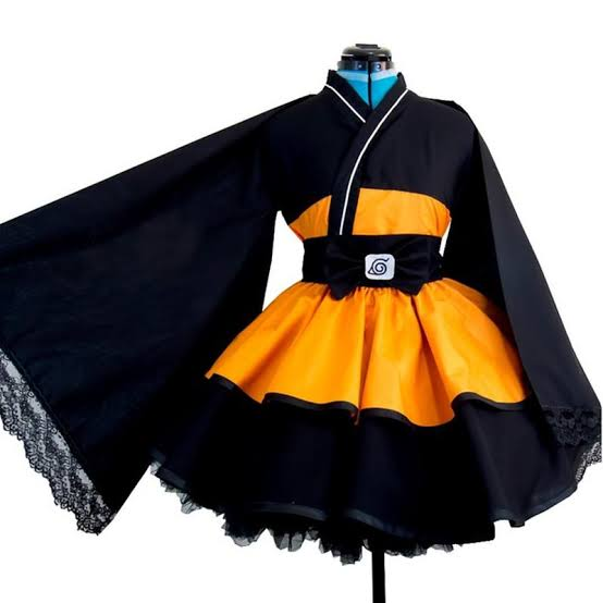 Cosplay akatsuki Naruto Saia Kimono E Faixa Cintura Cor Laranja