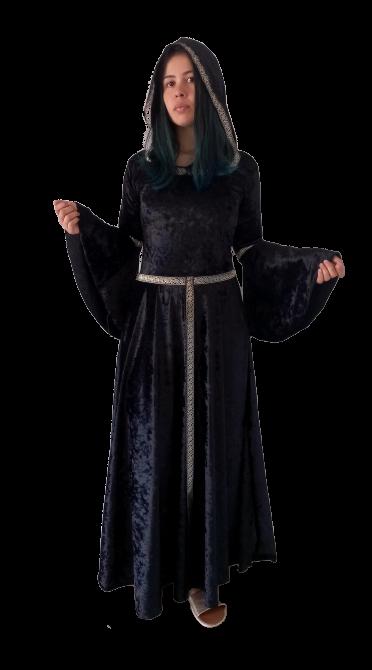 Fantasia Bruxa Medieval Veludo Com Capuz
