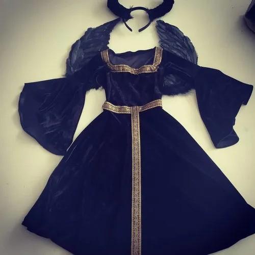 Vestido Malévola Infantil capa e asas
