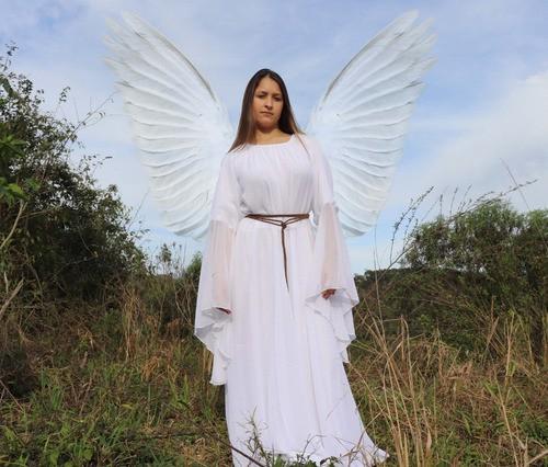 Vestido Branco Anjo Luxuoso Medieval Boho