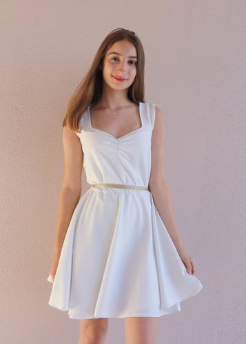 Vestido Branco Brilho Ano Novo Rodado Curto Reveillon