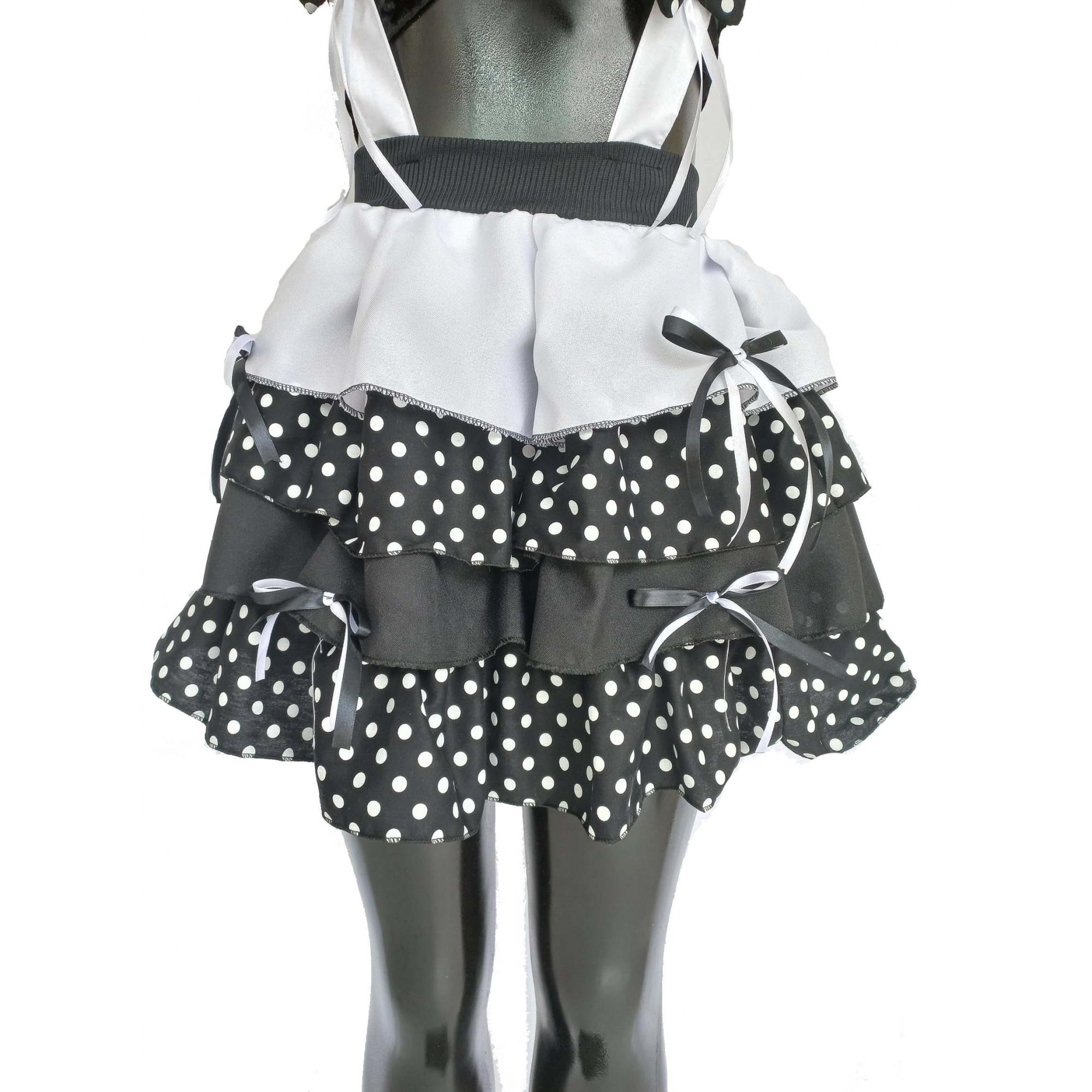 vestido caipira festa junina sex preto com bolinhas brancas