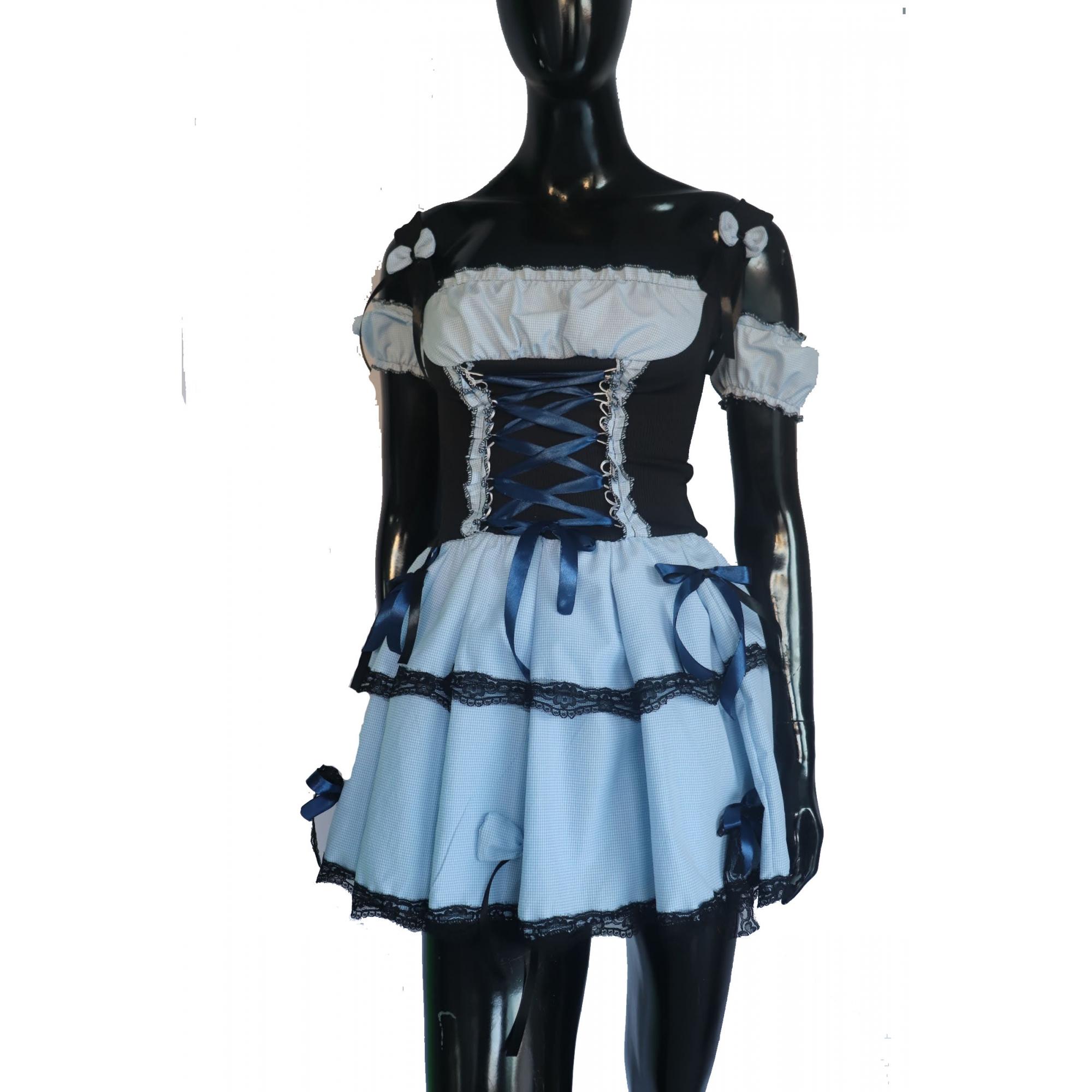 Vestido Caipira xadrez azul liso