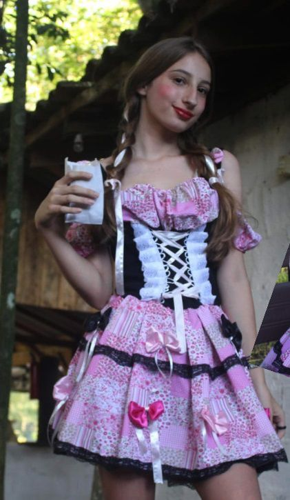 vestido caipirinha rosa com preto luxo