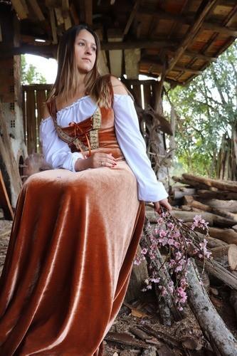 Vestido Camponesa Medieval Dourado Exclusivo Luxuoso
