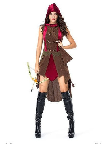Vestido Guerreira Medieval Curta Veludo Capuz E Colete Bolso