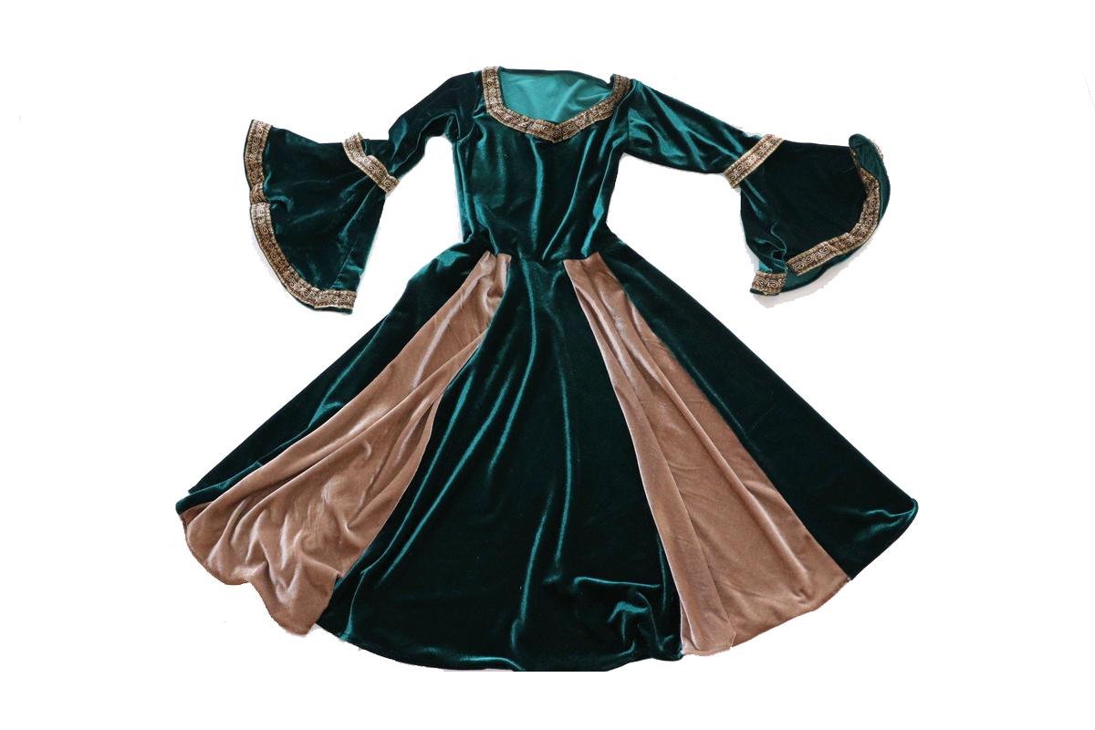 Vestido luxuoso medieval verde com bege elfa