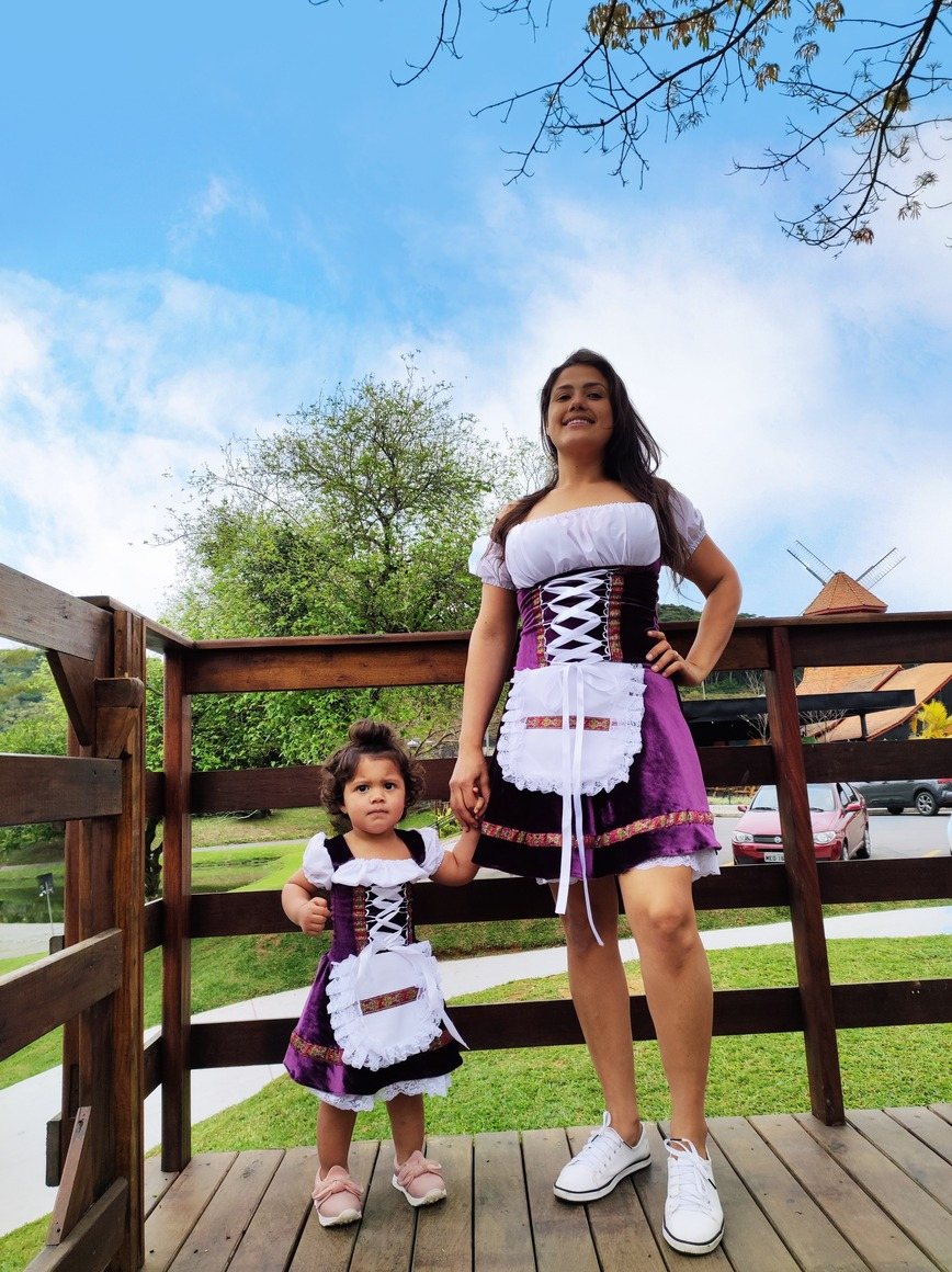 Vestido Mãe e filha Veludo alemã oktoberfest luxo varias cores