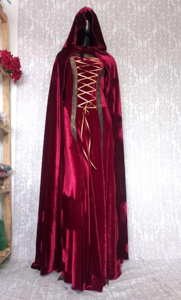 Vestido Medieval Com Capa Capuz Bordo