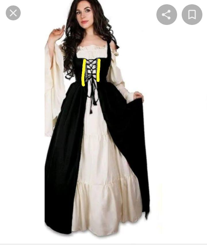 Vestido Medieval Com Capa Capuz Preto