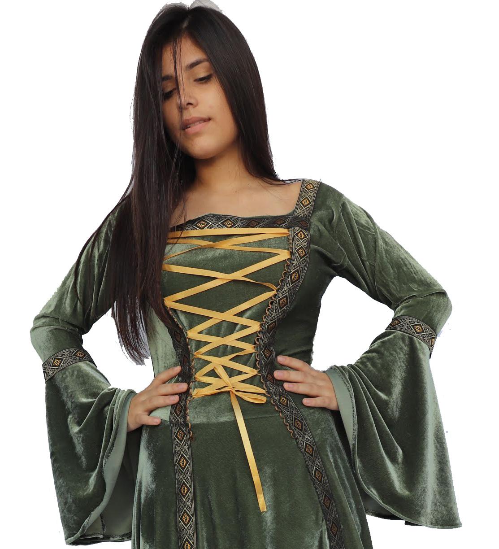 Vestido Medieval Elfa Natural Verde Musgo Veludo