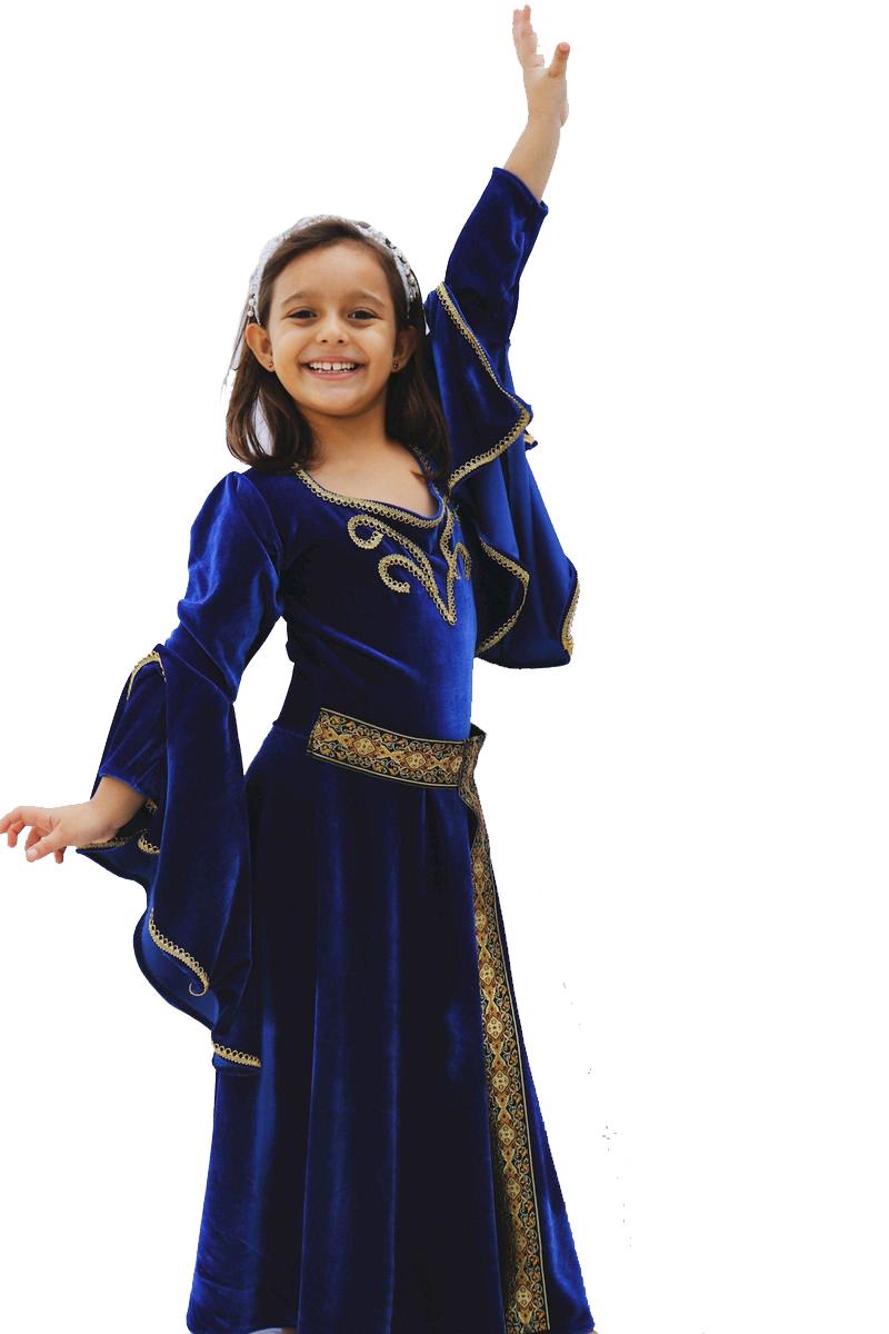 Vestido medieval luxo infantil azul Royal Exclusivo