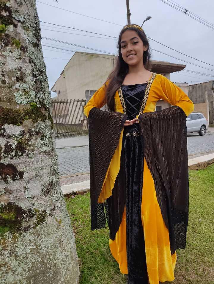 Vestido medieval luxuoso Amarelo com preto mangas longas renascentista