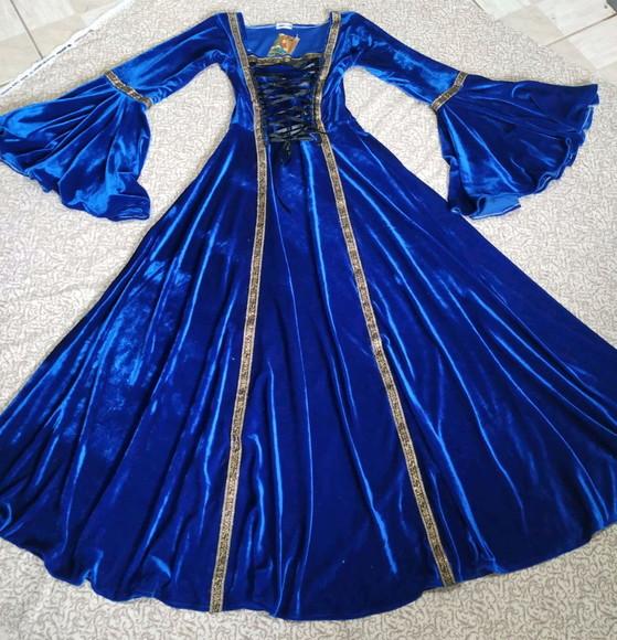 Vestido Medieval Tradicional Azul Royal Luxuoso
