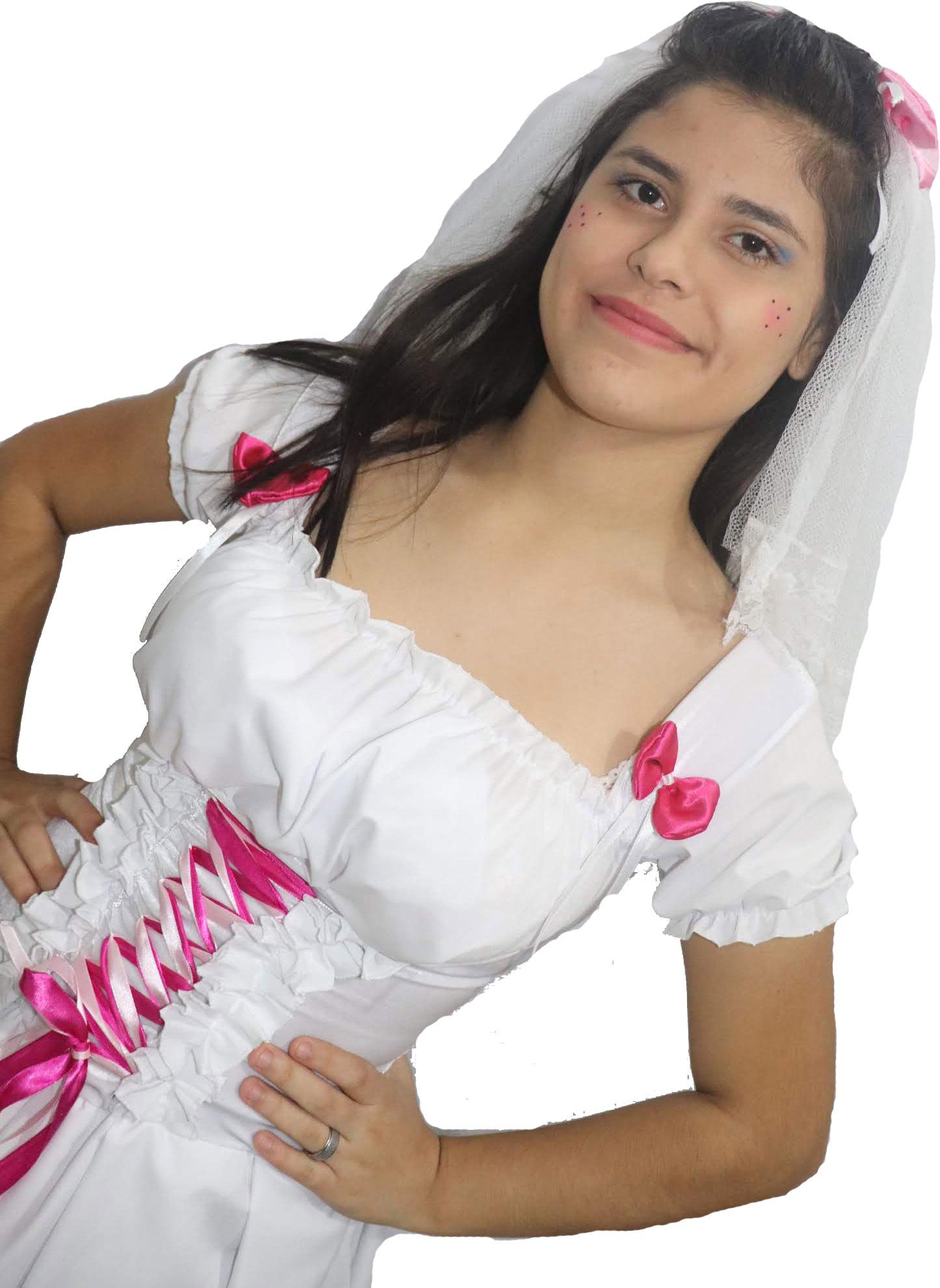 Vestido Noivinha Caipira Luxuoso rosa flores