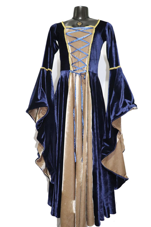 Vestido Rainha Elfa Medieval Azul com Bege