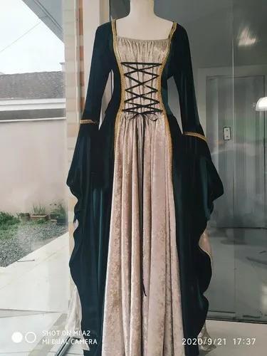 Vestido Rainha Elfa Medieval Verde Com Bege Dourado Luxuoso