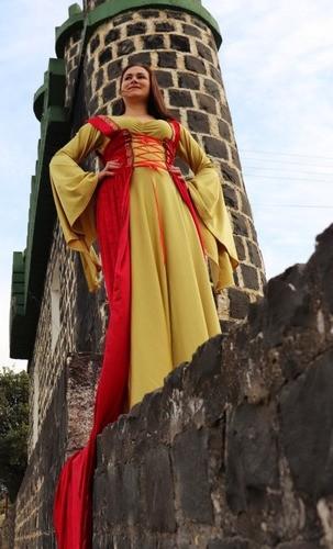 Vestido Rainha Medieval Luxuoso Exclusivo Vermelho E Dourado
