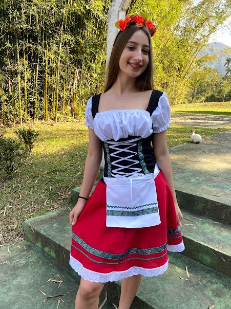 Vestido tradicional oktoberfest luxo com avental oxford