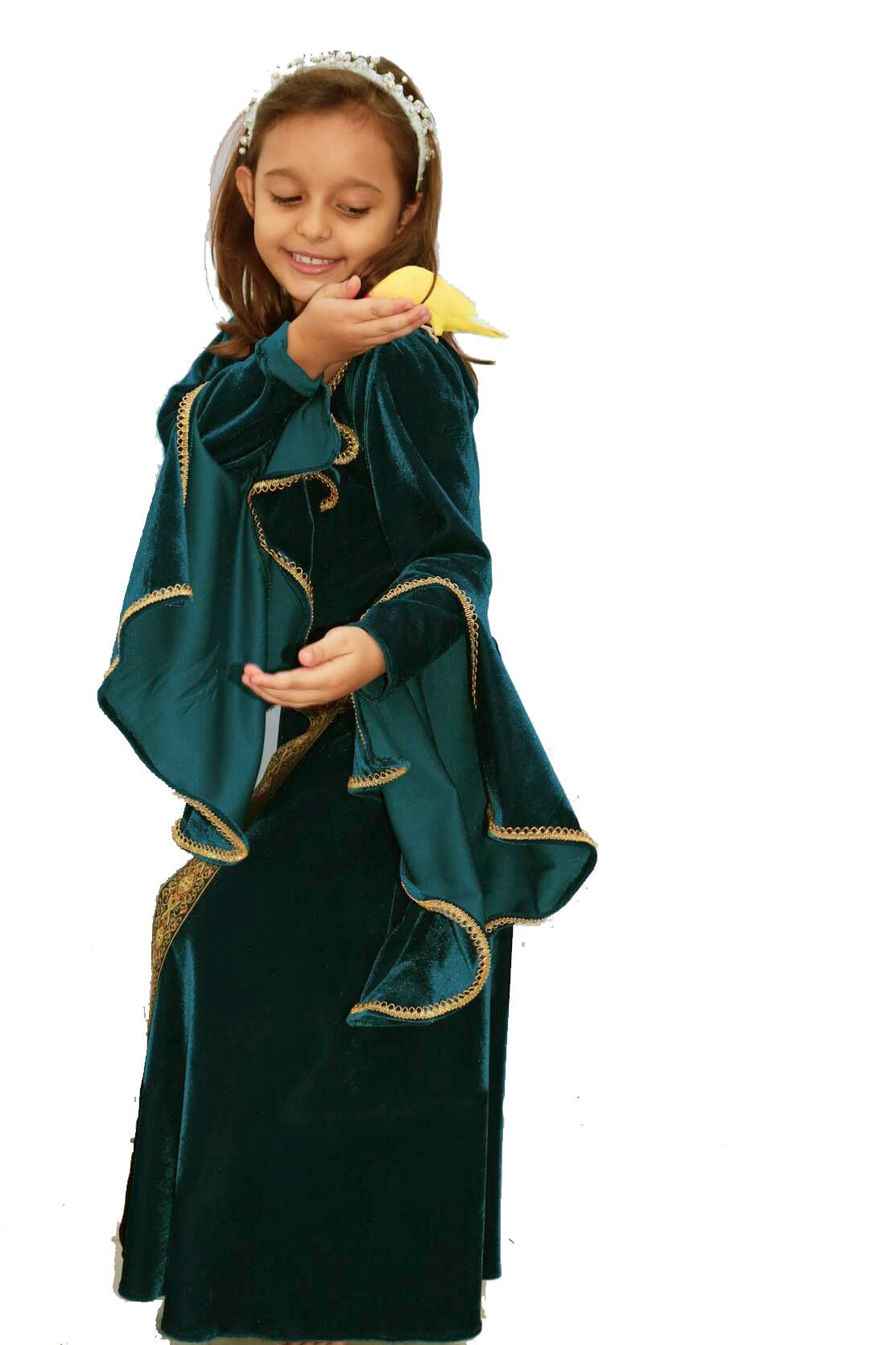 Vestido Verde Medieval Princesa Elfa Infantil