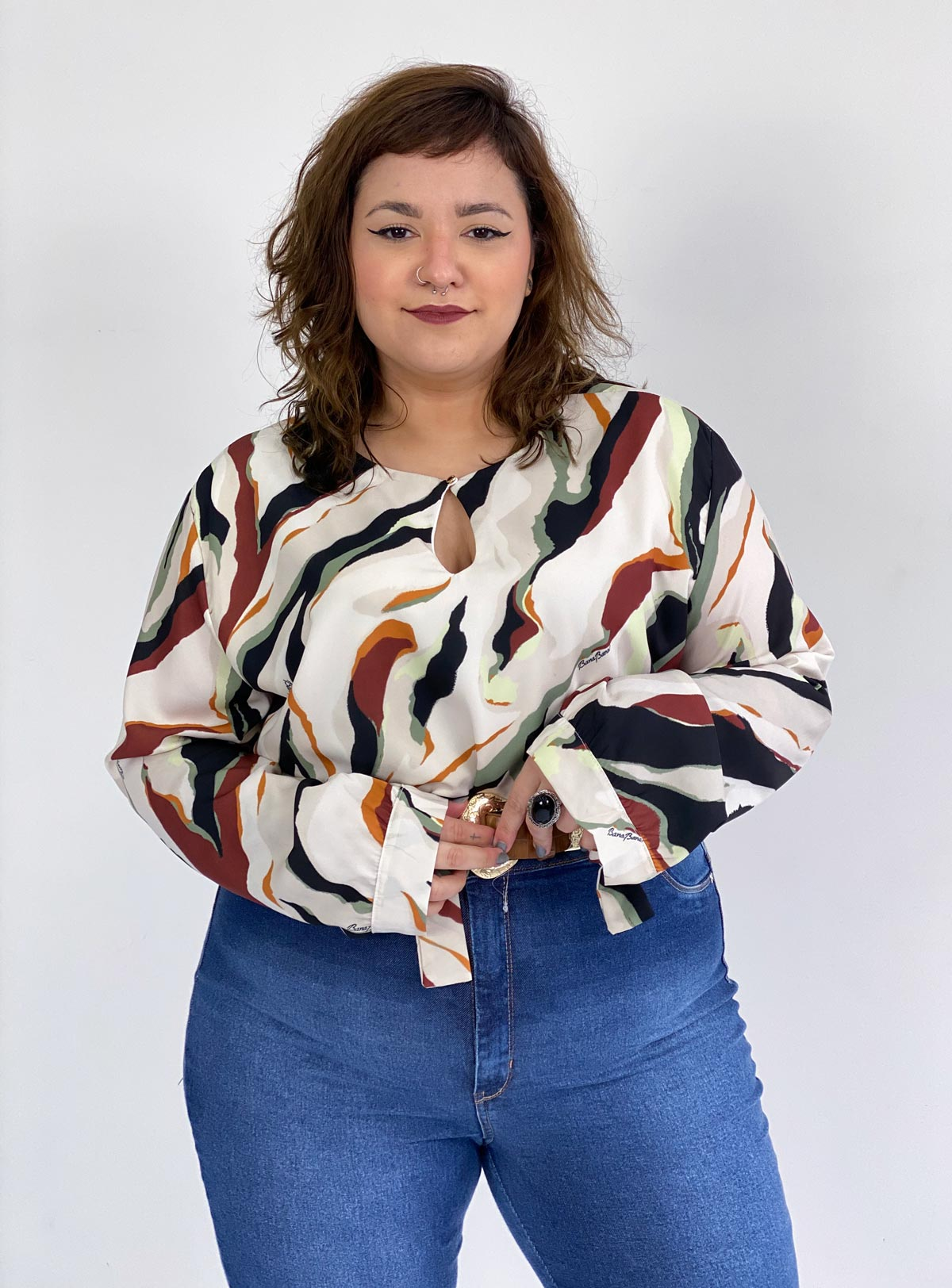 Blusa Estampada Feminina Plus Size Bana Bana