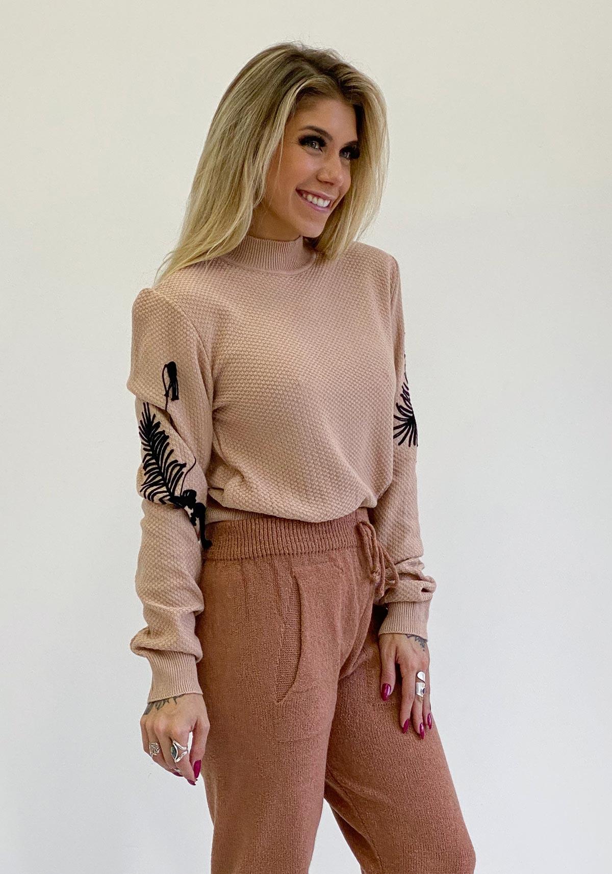Blusa Tricô Bordado Feminino Bana Bana