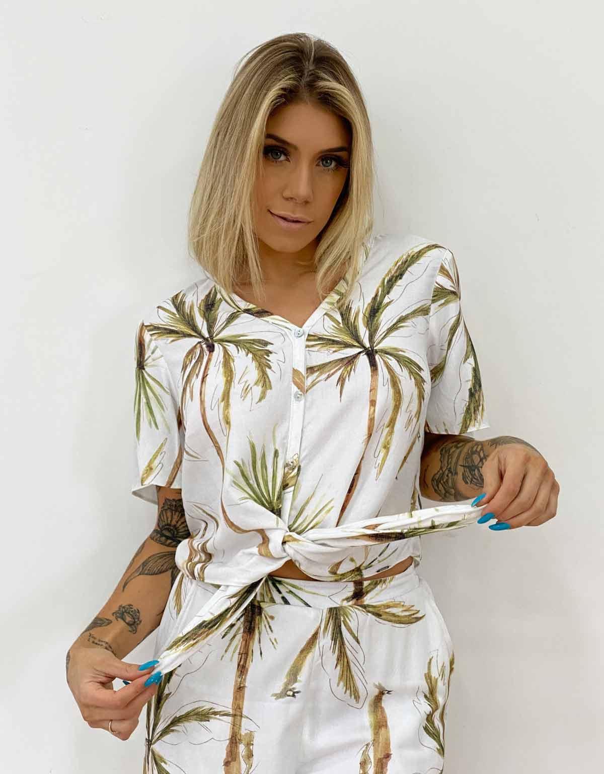Camisa Com Amarração Feminina Lunender