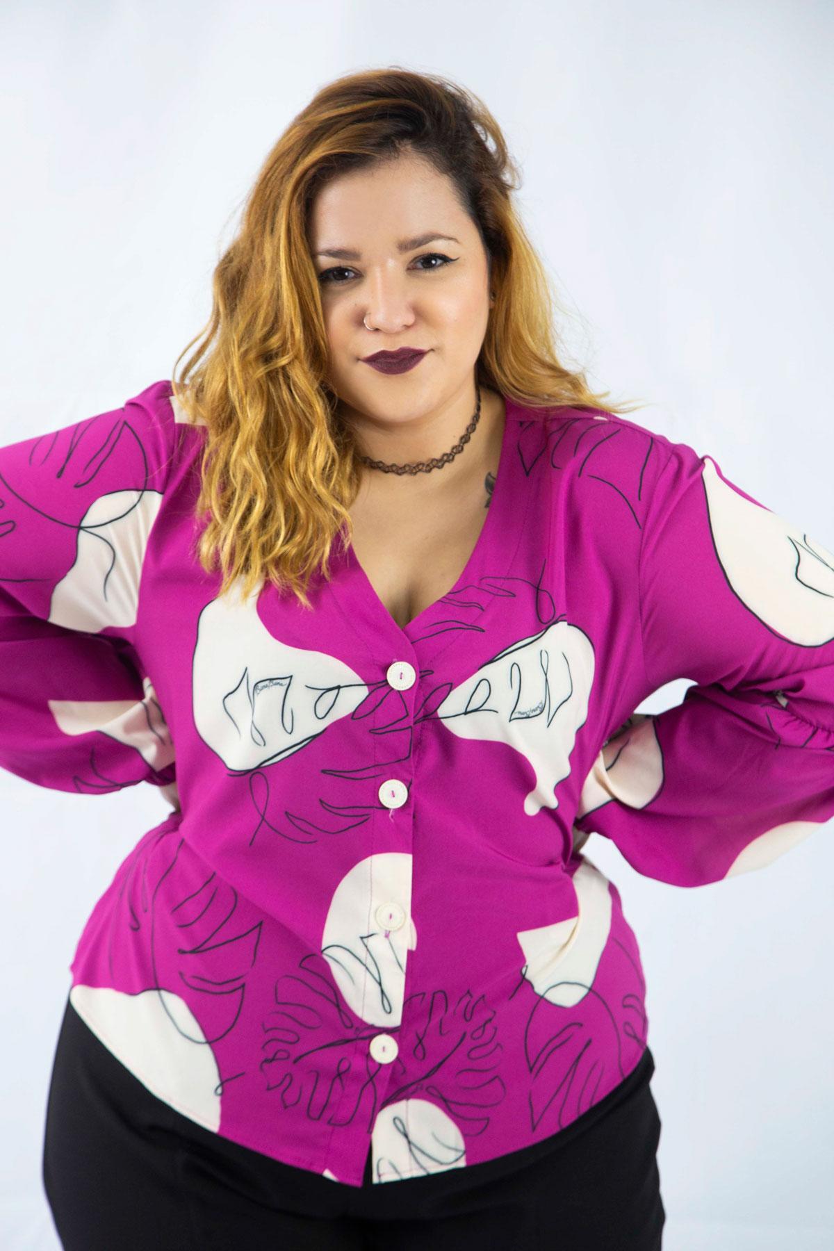Camisa Feminina Manga Bufante Plus Size Bana Bana