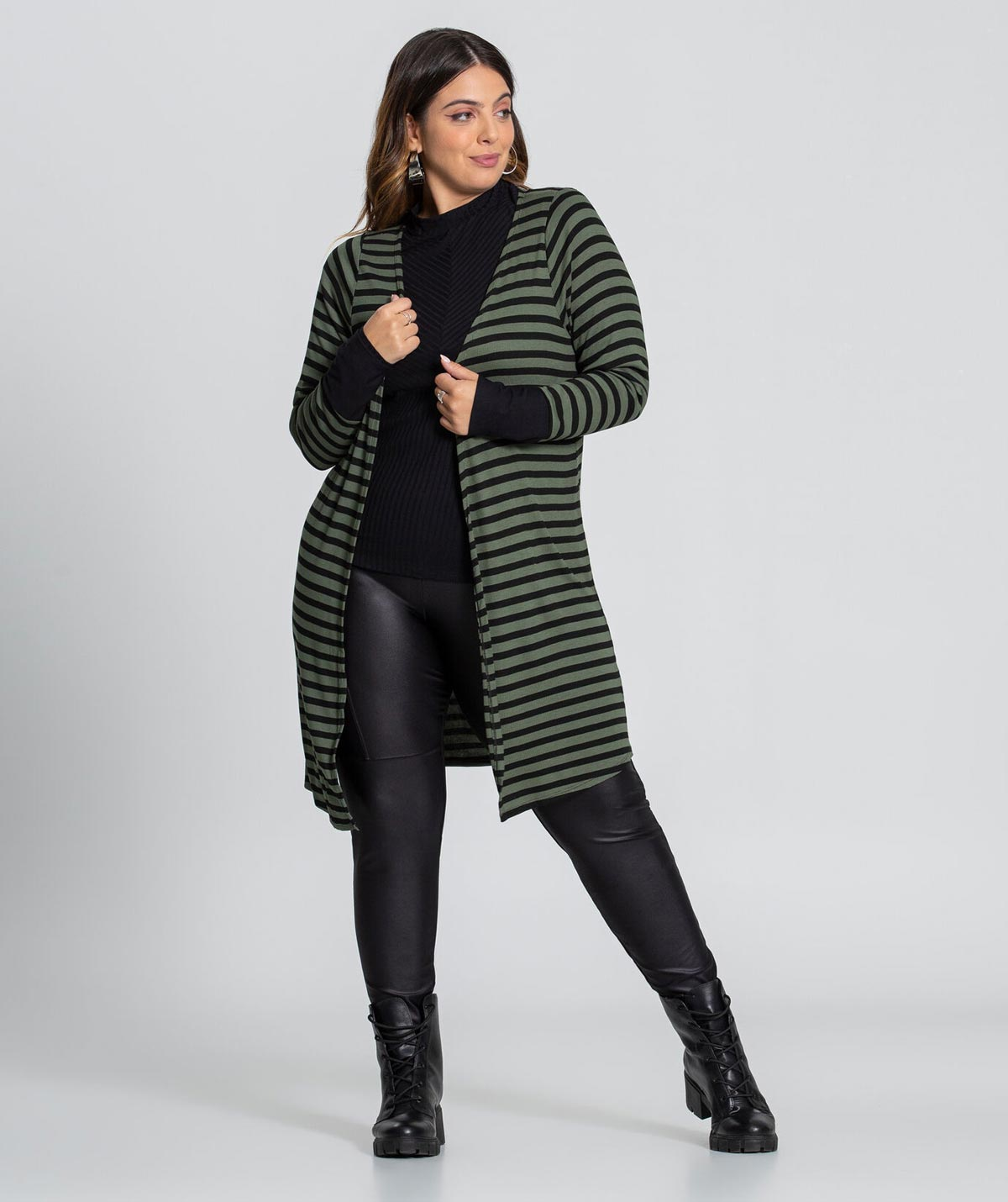 Cardigan Listrado Feminino Lunender Plus Size
