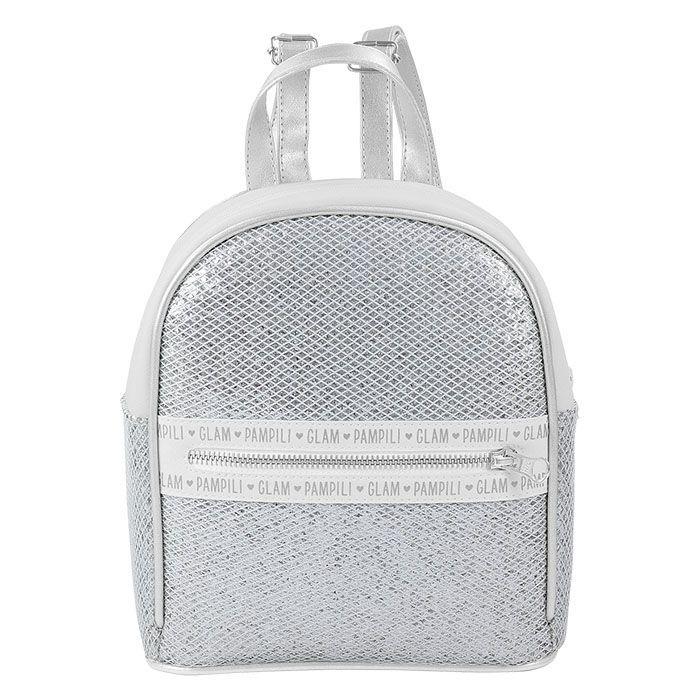 Mochila Infantil Pampili Metalizada com Glitter e Tela Prata