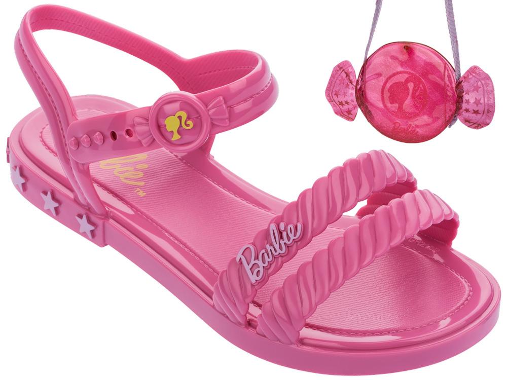 Sandália Infantil Feminina Barbie Candy Bag   Brinde
