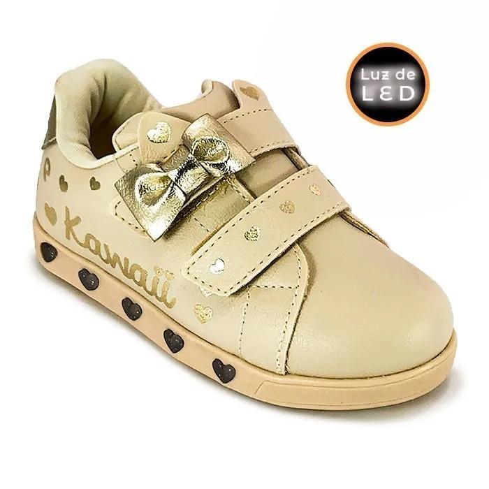 Tênis Infantil Feminino Pampili Sneaker Luz Kawaii